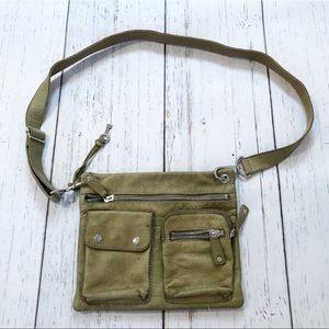 Fossil green leather crossbody shoulder bag